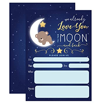 amazon com boy baby shower invitation love you to the moon and