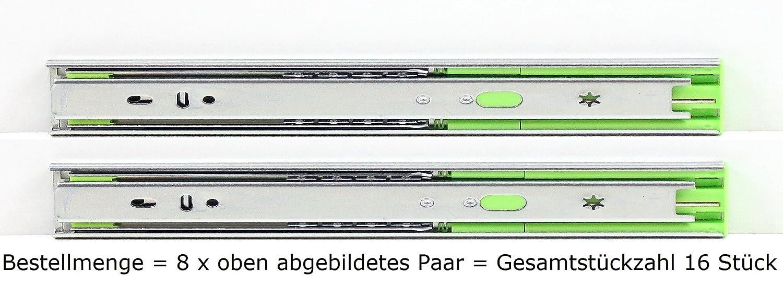 eingeschoben Tragkraft 40 kg LANZZAS Schubladenschienen 1 Paar 250 mm 2 St/ück kugelgelagert Vollausz/üge mit Selbsteinzug