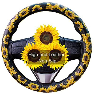 Evankin Sunflower Steering Wheel Cover Cute and Handmade,PU Universal Steering Wheel Cover 15 inch, Fashionable Boho Sunflower Car Accessories for Women,Top Girl Car Accessories(Leather): Automotive
