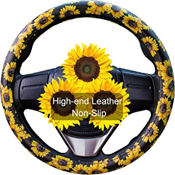 MoKo Safe Anti-Slip Neoprene Material Stretch-on Fabric Cover Fit 14-15.5 Inch Fashionable Steering Wheel Car Accessories Steering Wheel Cover Set with Cute Sunflowers Quarter Keyring 2 Packs