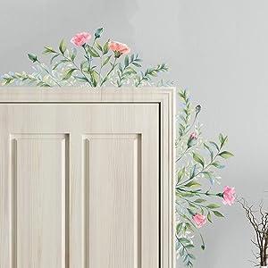 Green Leaf Flower Wall Decals Stickers Plants Art Decor Colorful Peel and Stick Corner Headboard Sofa Decoration