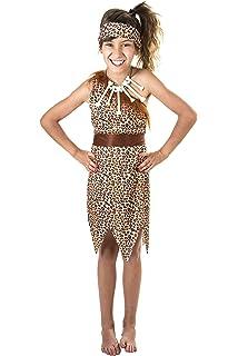 Folat - Disfraz de cavernícola para niña (3 Piezas), Color marrón ...