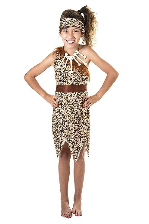 Costumizate! Disfraz de Cavernícola para niña Talla 10-12 Especial para niños Fiestas de Disfraces o Carnaval