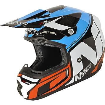 187210L04 - Nitro MX600 Holeshot Motocross Helmet L Black Blue Orange (04)