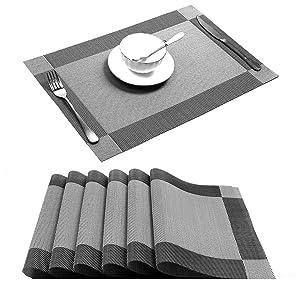 U'Artlines Placemat, Crossweave Woven Vinyl Non-Slip Insulation Placemat Washable Table Mats Set of 6 (6pcs placemats, Silver-Gray)