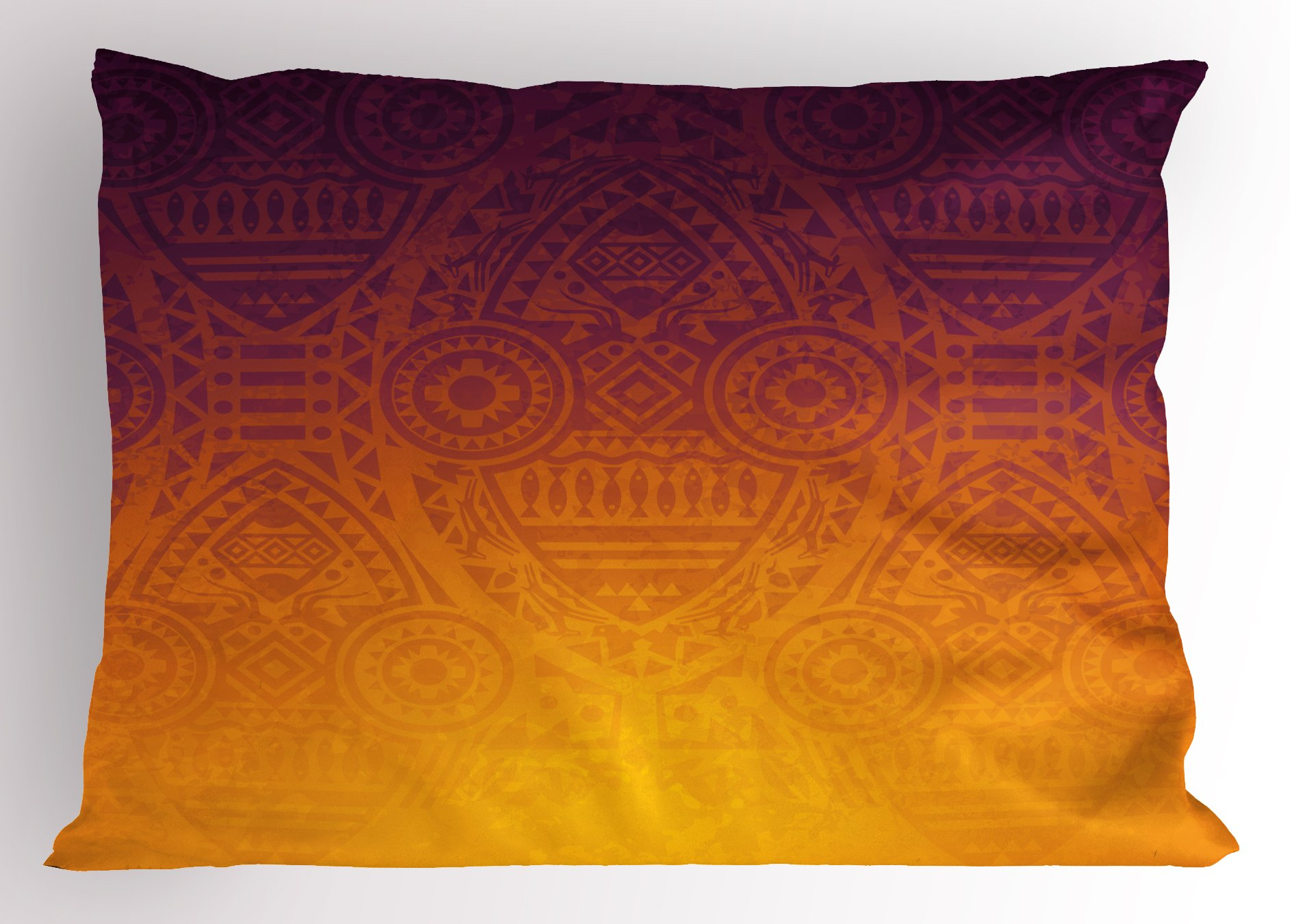 Lunarable Ethnic Pillow Sham, Mysterious African Tribal Wall Motifs with Mask Ceremonial Mystical Sacred Artwork, Decorative Standard Queen Size Printed Pillowcase, 30 X 20 inches, Burnt Orange