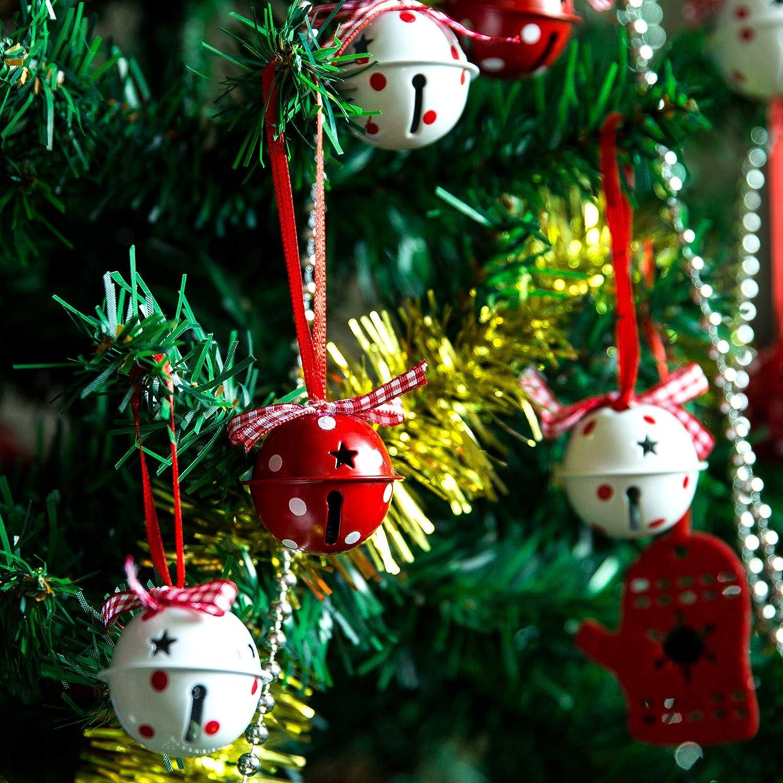 Naler D/écorations de la F/ête 120 PCS Petites Clochettes 25mm Grelots en M/étal Jingle Bells pour No/ël//D/écoration Rouge