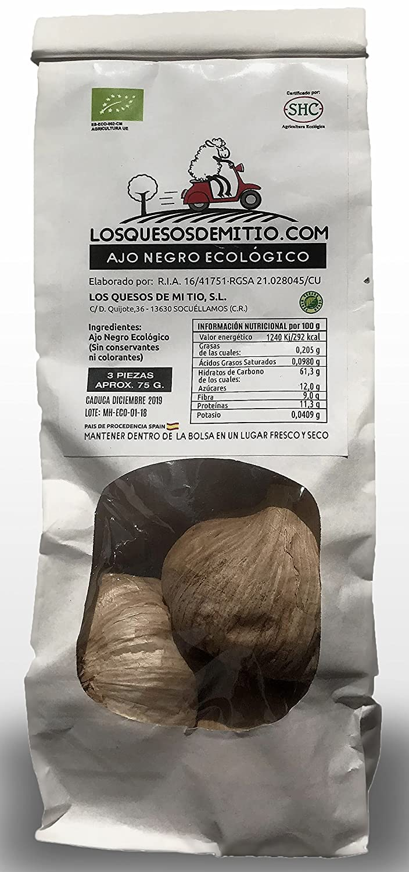 Ajo negro ecológico español de máxima calidad (3 cabezas de ajo negro al natural, aprox 85g), antioxidante y energizante natural con sabor a regaliz, ...