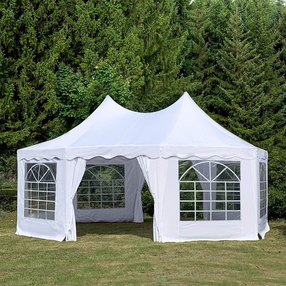 Quictent 20×14.5ft Party Tent Heavy Duty Wedding Tent Octagonal Gazebo Outdoor Canopy-White
