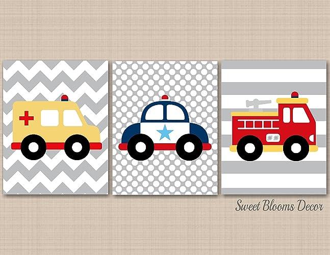 Greatest Amazon.com: Transportation Nursery Wall Art,Rescue Vehicles Wall  GJ04