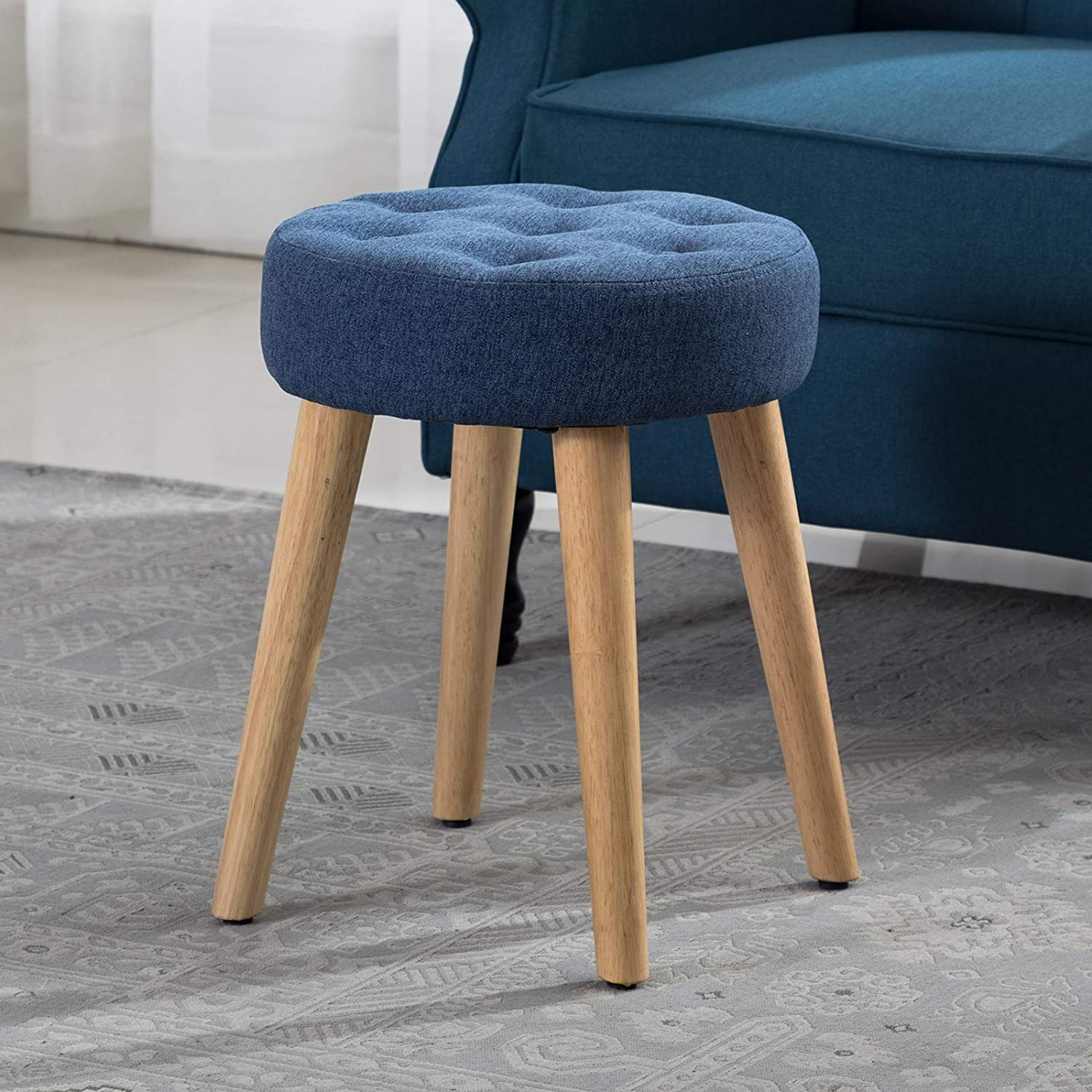 Artechworks Thick Padded Round Footrest Ottoman, Makeup Stool with Wooden  Legs for Living Room, Bedroom, Blue