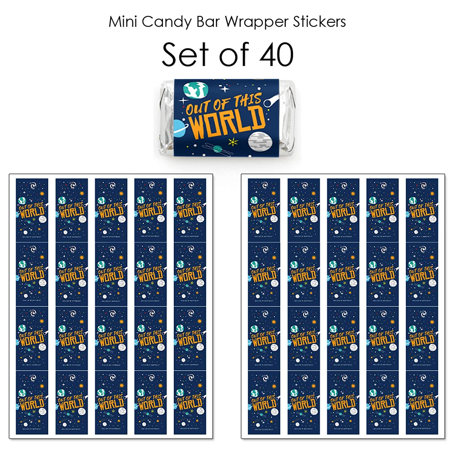 40 Count Mini Candy Bar Wrapper Stickers Blast Off to Outer Space Rocket Ship Baby Shower or Birthday Party Small Favors