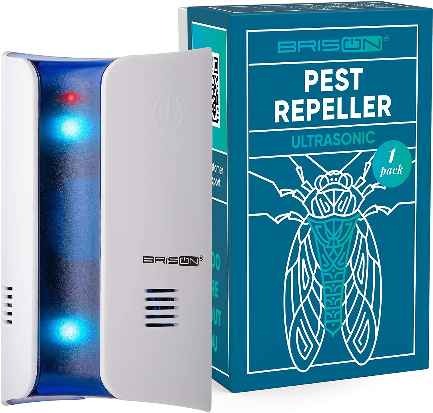1 PACK Ultrasonic Mosquito Repellent -Wall Plug-in Electromagnetic Pest Repeller Prevents & Drives Away Mice Rats Spiders Fruit Flies Fleas Roaches Ants Snakes Rodents - Eco-Friendly & Pet Safe