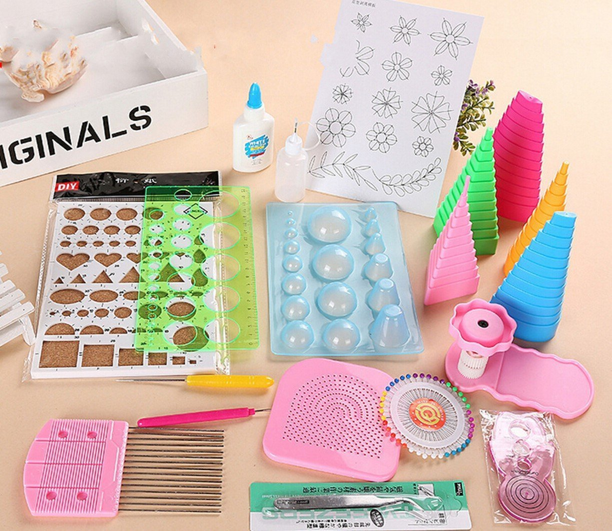CHENGYIDA DIY Handmade Paper Quilling Tools Set Kit Stripes Tweezer Pins Slotted Tool Origami Paper Craft Decorating by CHENGYIDA
