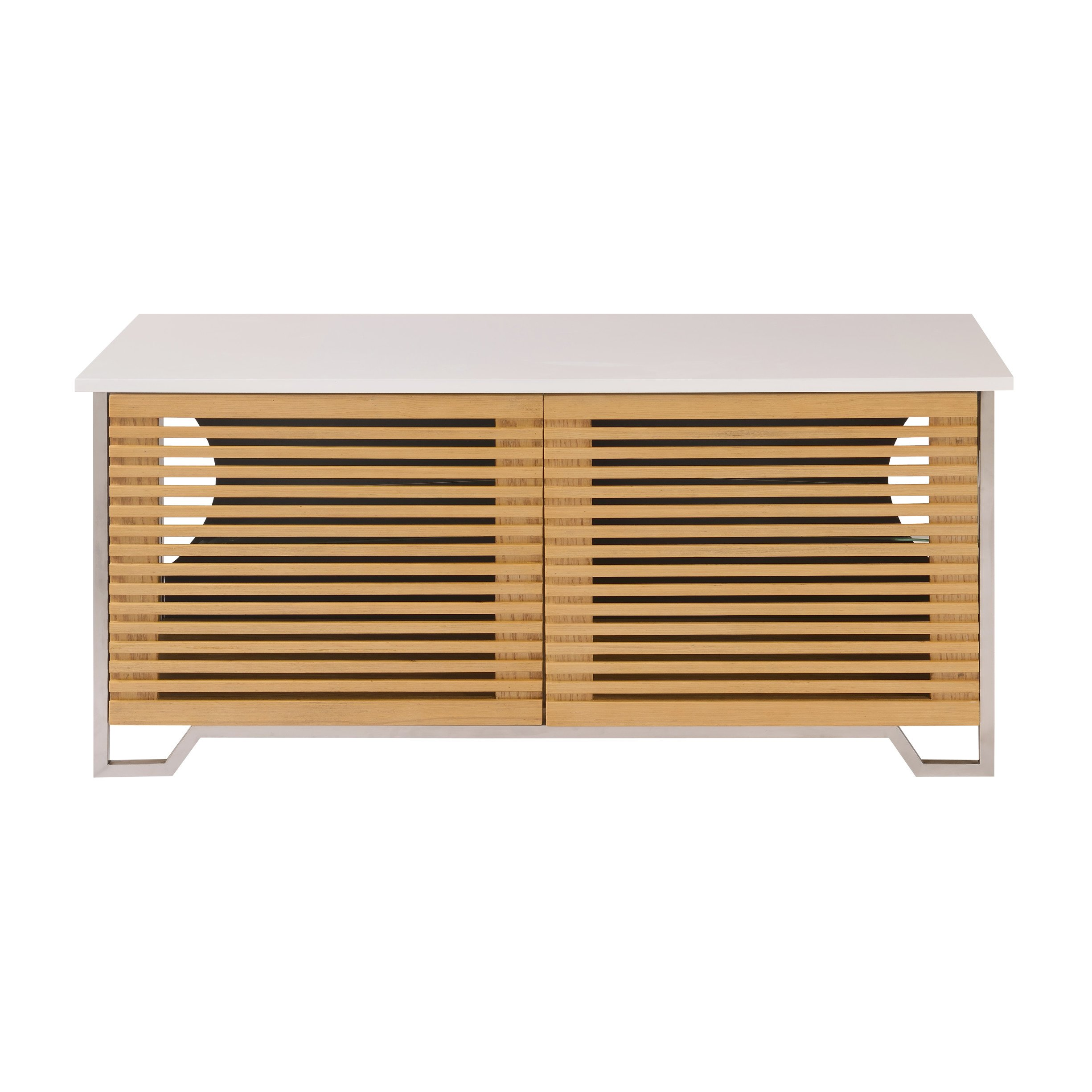 Emerald Home Modern Home White and Beige TV Console with Louvered Doors And Stainless Steel Detailing by Emerald Home Furnishings