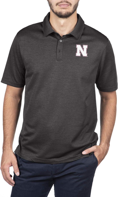 Large NCAA Nebraska Cornhuskers Male Dark Heather Carbon Polo Nebraska Cornhuskers Black Heather