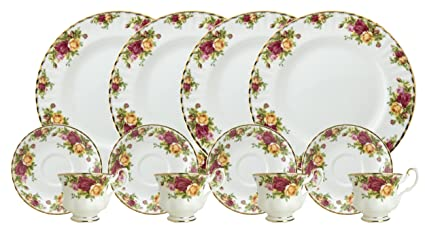 Royal Doulton-Royal Albert Old Country Roses 12-Piece Set Service for 4  sc 1 st  Amazon.com : royal dinnerware - pezcame.com
