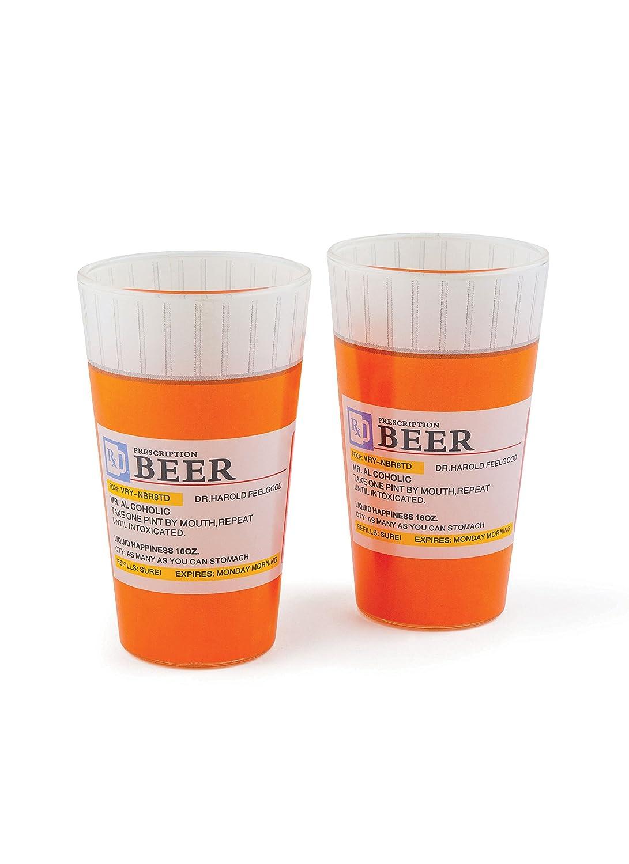 BigMouth Inc Prescription Pint Glass, Set of 2 Ceramic Drinking Cups, Pilsner Glasses BigMouth Inc. BMBG-RX