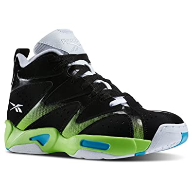 f63c27fecd663d Reebok Kamikaze I Mid Men s Basketball Shoes Black White Green 12 D(M) US   Buy Online at Low Prices in India - Amazon.in
