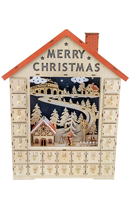 clever creations traditional wooden christmas advent calendar festive christmas village decorations battery operated led - Wooden Christmas Advent Calendar