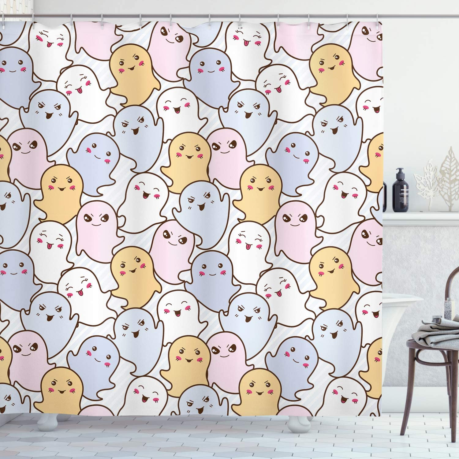 Amazon Com Lunarable Doodle Shower Curtain Kawaii Ghosts With
