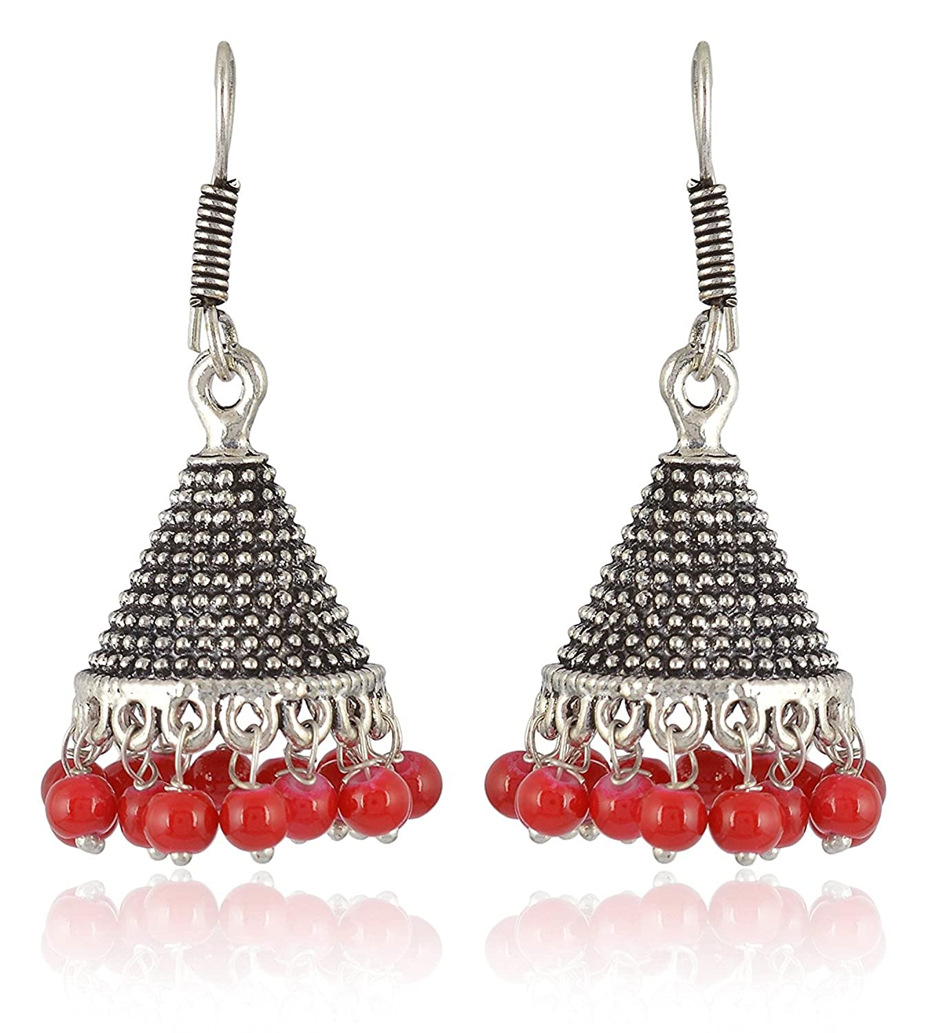 Subharpit Ethnic Red Oxidized Silver Jhumki Indian Earrings Jewelry for Girls and Women