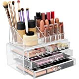 Cosmetic Makeup & Jewelry Organiser | Clear Acrylic 20 Section Dressing Table Holder | Stackable or Free Standing Drawers Included | Pukkr