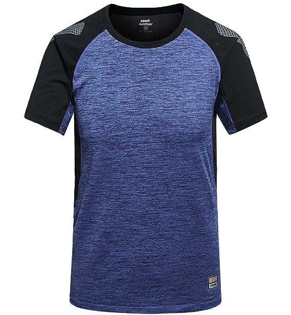 Camisetas Deportivas Hombre Fitness Camiseta Running Manga Corta Camiseta Secado Rápido Transpirable Camiseta Tenis Azul Claro, XL: Amazon.es: Ropa y ...