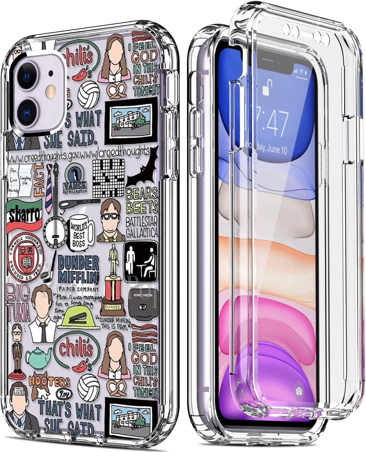 """IKAZZ iPhone 11 Case with Built-in Screen Protector,Clear TPU Bumper Cover with Fashionable Floral Designs for Girls Women,Slim Fit Protective Phone Case for Apple iPhone 11 6.1"""" Adults"""