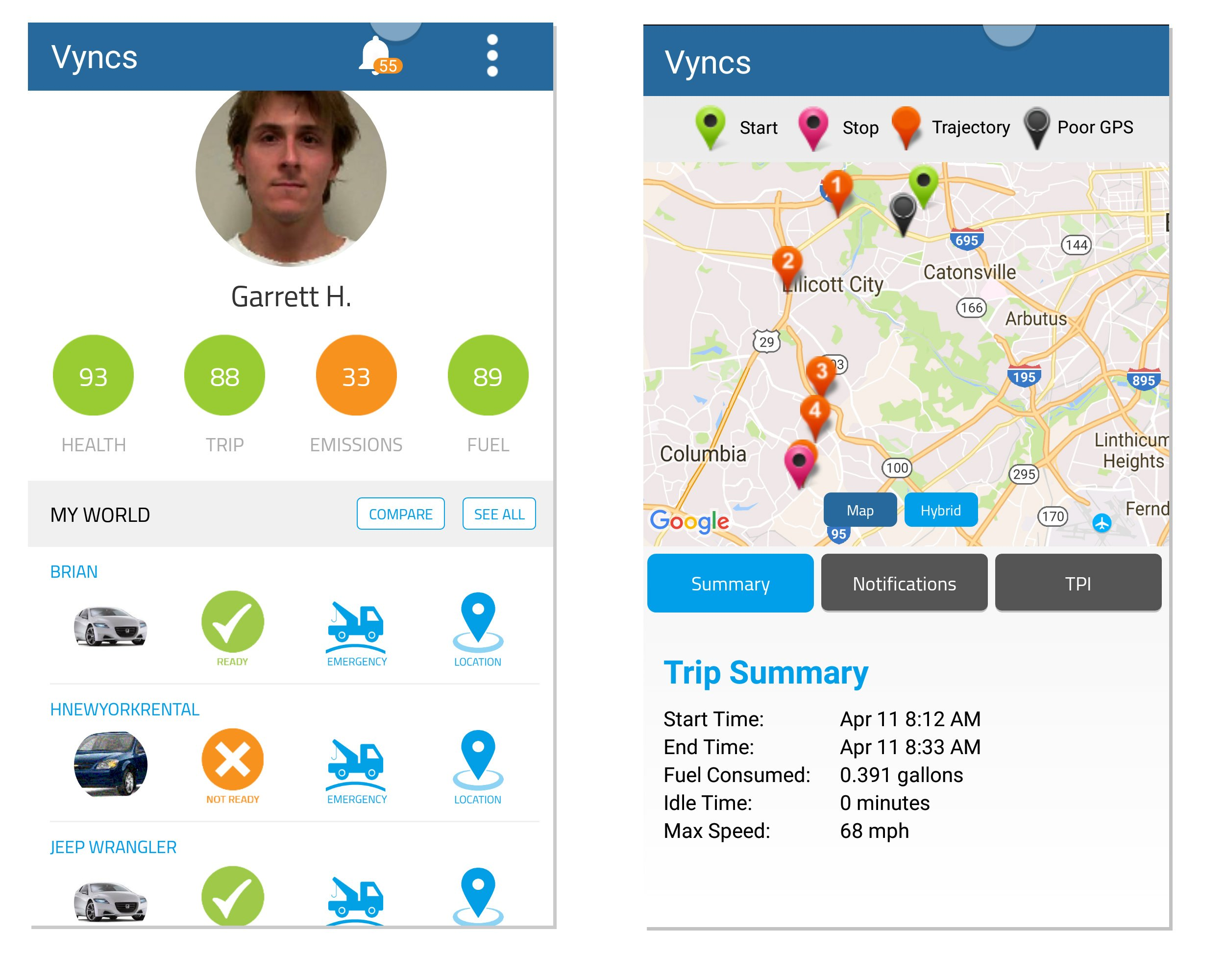 Vyncs Pro No Monthly Fee Connected Car OBD 3G Car GPS Tracker, Real Time GPS, Teen Coaching, Car Health, Fuel Economy, Emission, One year Roadside Assistance Included VPOBDGPS3 by Vyncs (Image #6)