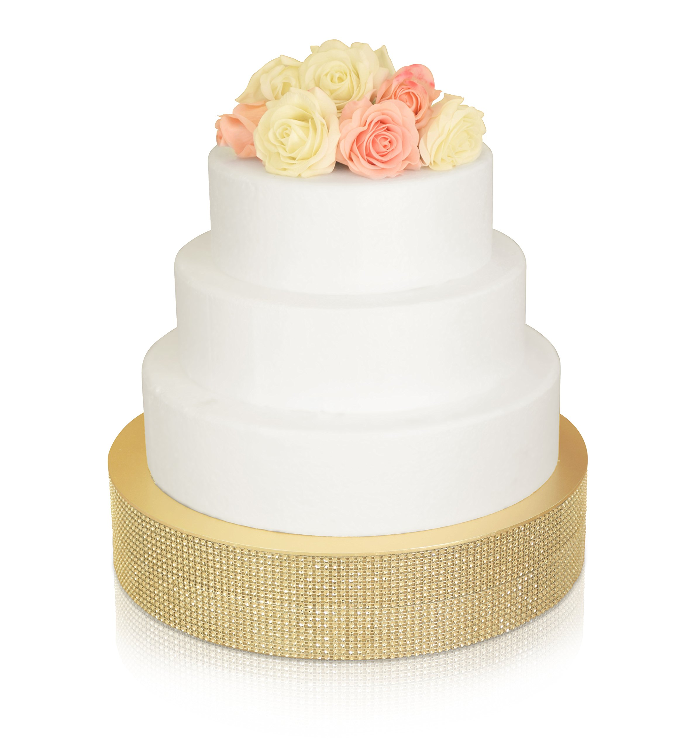 '' OCCASIONS'' Bling Wedding Cake Stand (holds 150 lbs) Cupcake Base, Decorative Centerpiece for Parties (16'' Round, Soft Gold)
