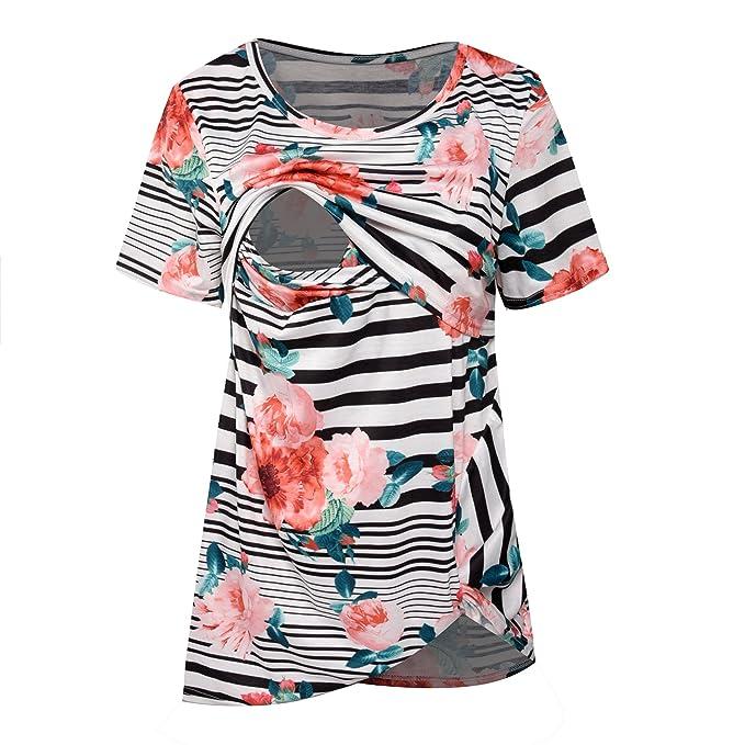 b4d87f8a7f Women Floral Striped Breastfeeding Nursing Tops Comfy Short Sleeve Nursing  Shirts at Amazon Women s Clothing store