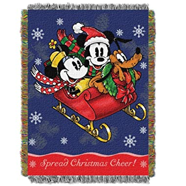 1 Piece Navy Blue 60 X 48 Inches Mickey Mouse Sleigh Ride Tapestry Throw Blanket For Kids, Red Green Magical Movie Cartoon Themed Woven Novelty Design Colorful Casual Modern, Polyester