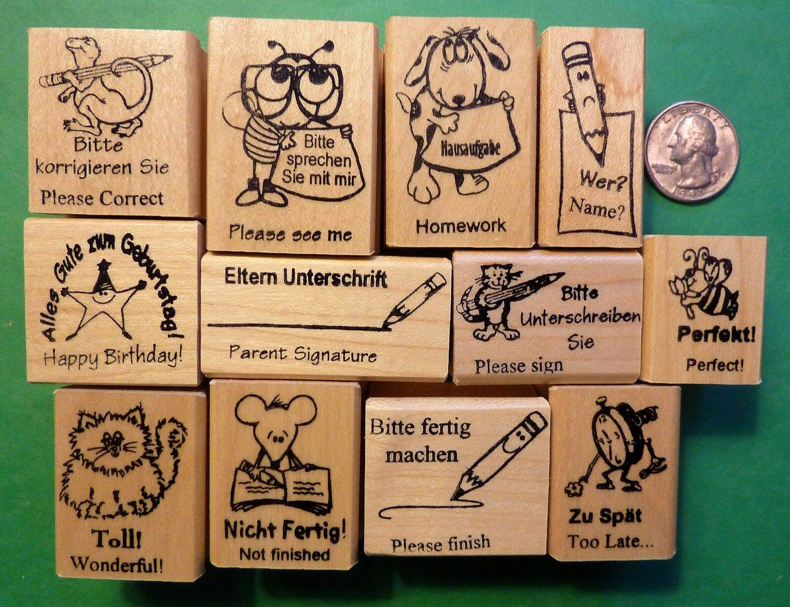 Teacher's German/English 12-Piece Rubber Stamp Assortment - Rubber Stamp Wood Carving Blocks by Wooden Stamps