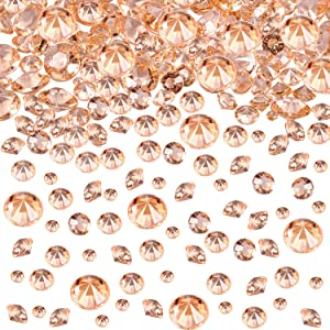 Hicarer 4000 Pieces Table Confetti 3 Sizes Wedding Crystals Acrylic Diamonds Rhinestones Vase Fillers for Birthday Baby Shower Party Tables (Rose Gold)