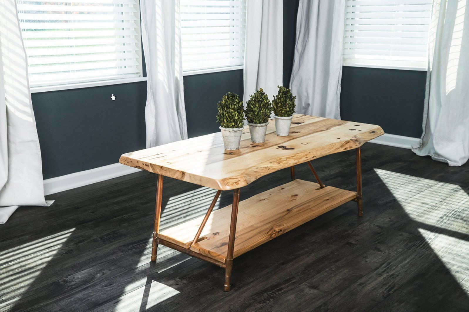 Niangua Furniture Live Edge Hickory Rustic Coffee Table with Copper Pipe Legs - 48'' x 23''