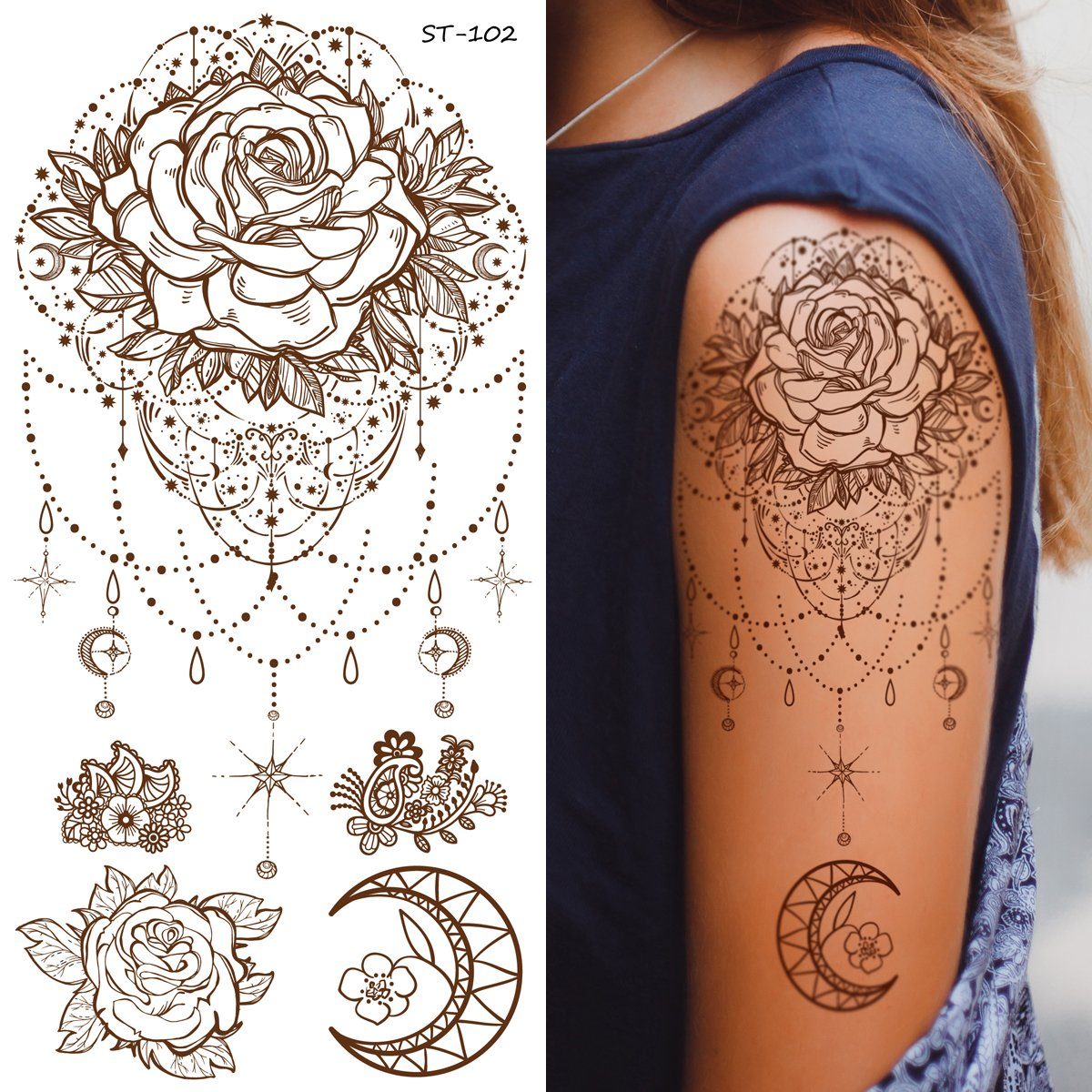 7fc5d1bfbf768 Amazon.com : Supperb Temporary Tattoos - Inspired Mandala Rose Henna  Jewelry Healing Yoga Meditation Tattoo : Beauty