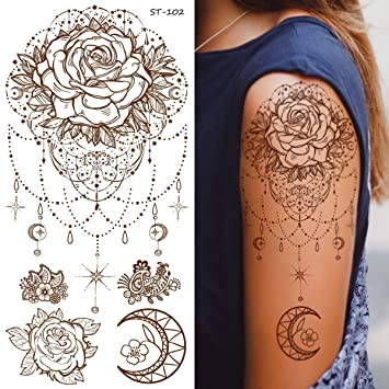 843b4eb07 Amazon.com : Supperb Temporary Tattoos - Inspired Mandala Rose Henna Jewelry  Healing Yoga Meditation Tattoo : Beauty