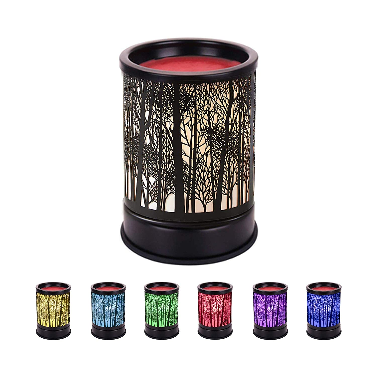 Gaea Electric Candle Warmer Black Metal Forest Wax Melt Warmer with Dimmer Switch Fragrance Oil Burner Tart Burner Aroma Decorative Lamp for Gifts & Decor Gift for Friend and Family (Style 2)