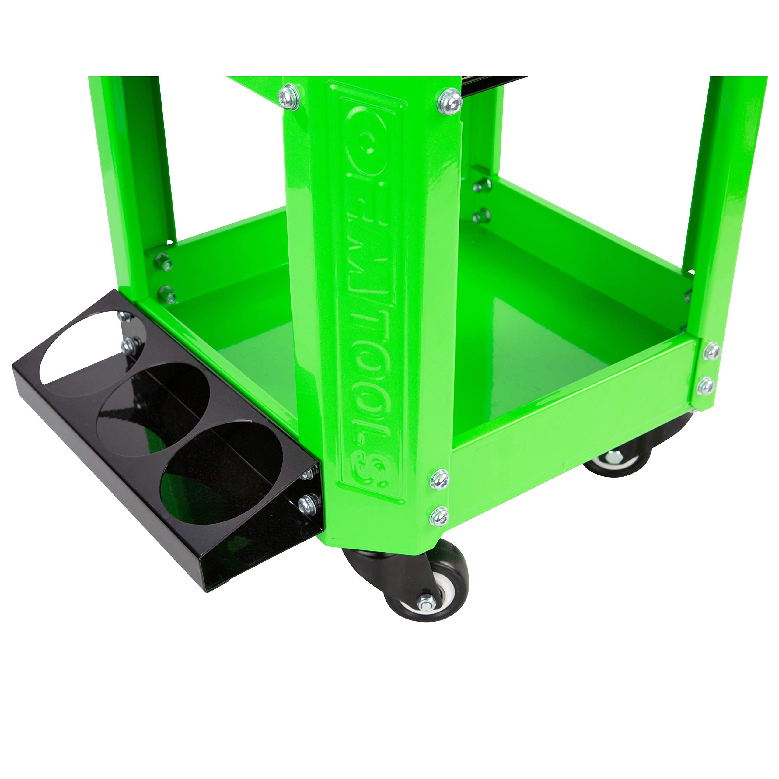 OEMTOOL 24993 Green Rolling Workshop Creeper Seat with 2 Tool Storage Drawers Under Seat Storage Can Holders by OEMTOOLS (Image #5)