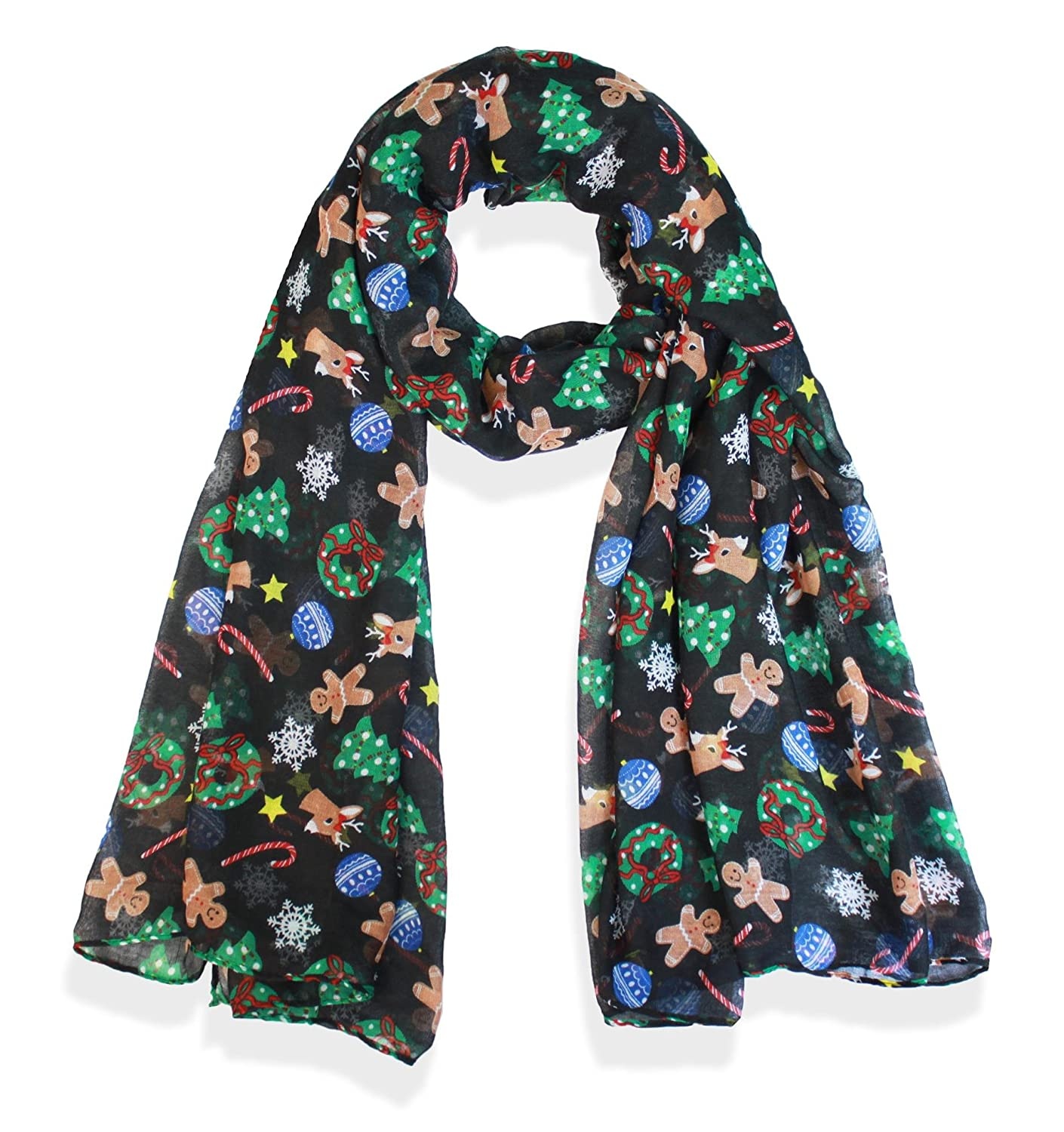 Candy Cane Print Women's Scarf Christmas Gift Lightweight