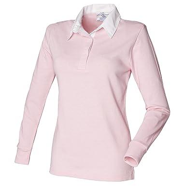 5f35e49b27f6c3 Women's long sleeve plain rugby shirt (Light Pink/ White, ...
