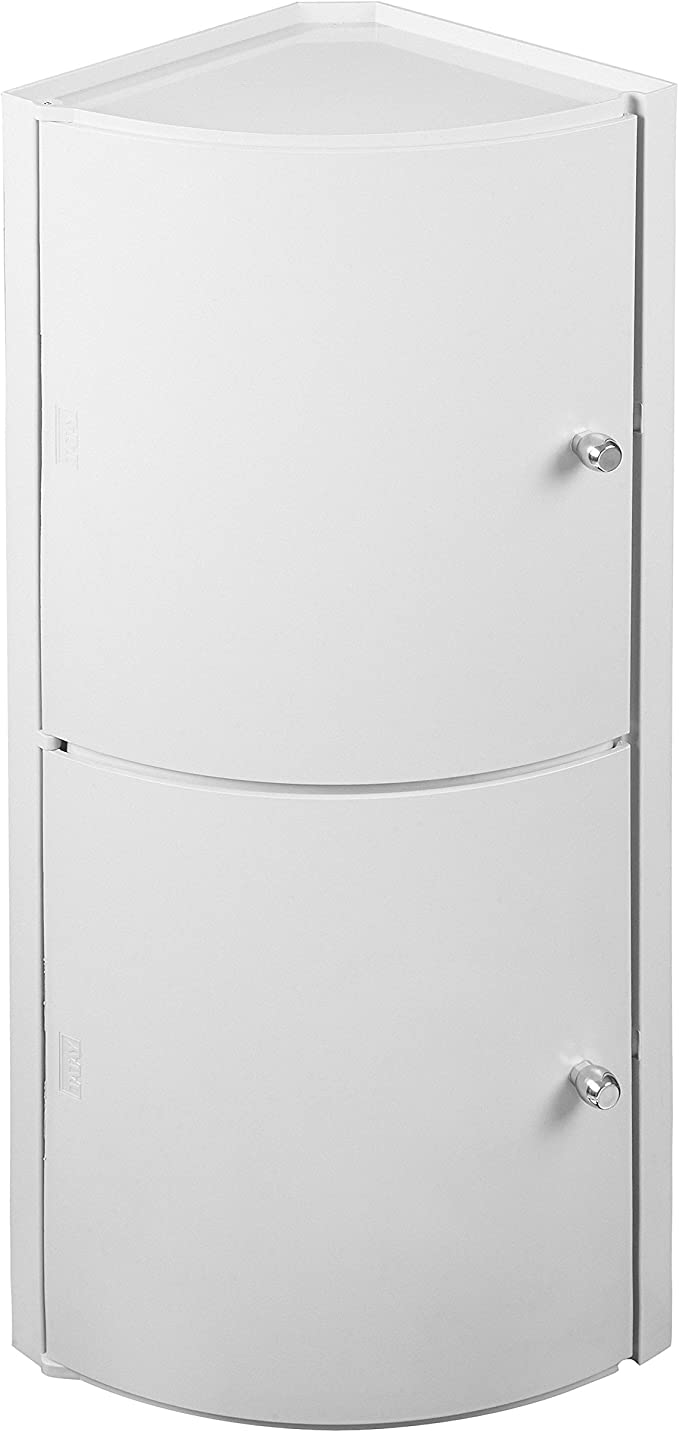 TATAY 4433501 - Armario de plástico de rincón con 2 puertas, medidas 28,5 x 62,5 x 18 cm, color blanco: Amazon.es: Hogar