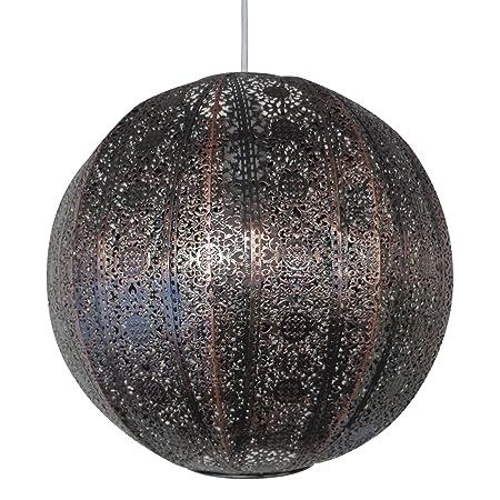30cm moroccan metal globe pendant bronze effect easy fit ceiling