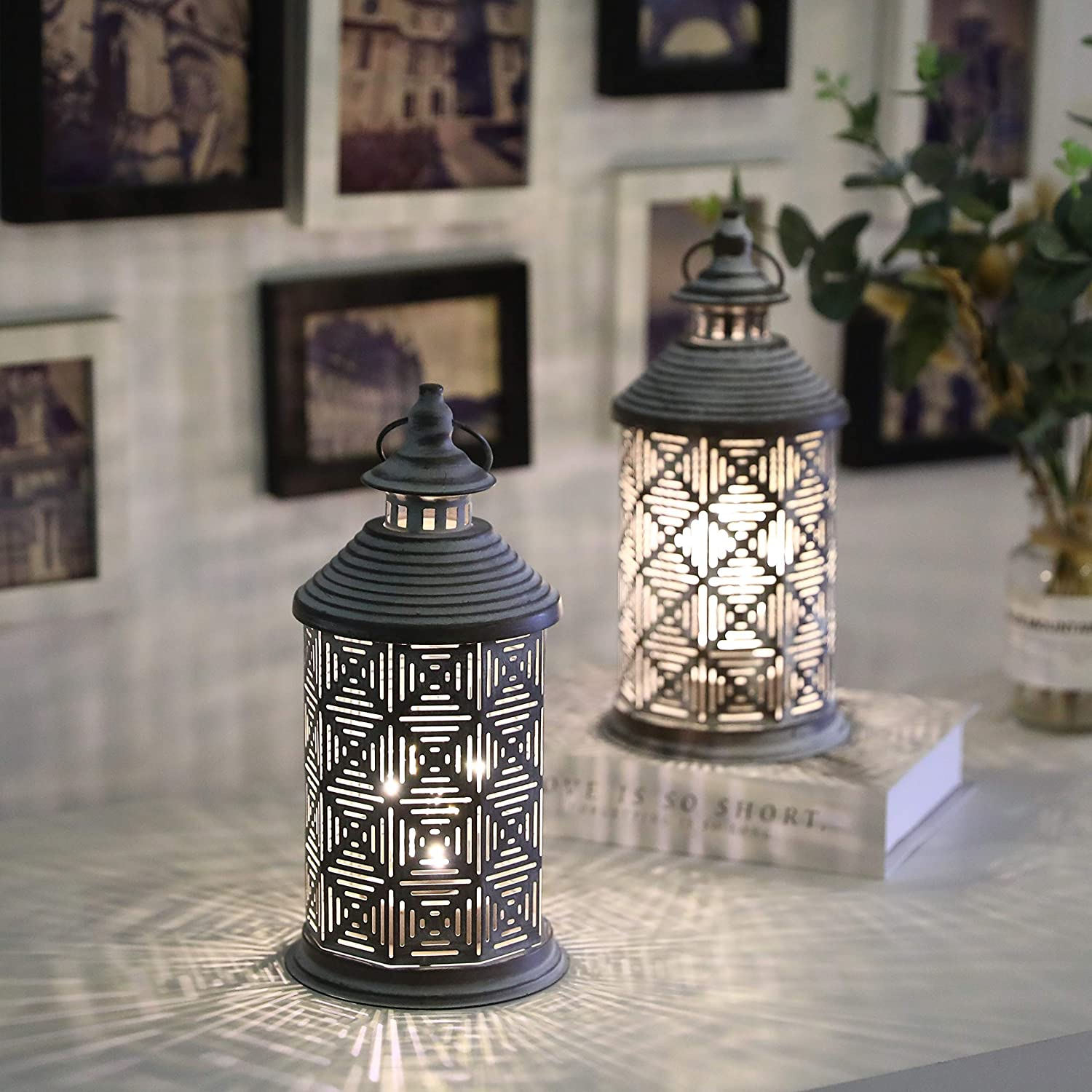 """JHY DESIGN Set of 2 Metal Table Lamp Battery Powered 10.5"""" Tall Cordless Lamps Vintage Bedside Lamps with Edison Bulb for Living Room Bedroom Weddings Parties Garden Hallways Outdoor(Square Pattern)"""