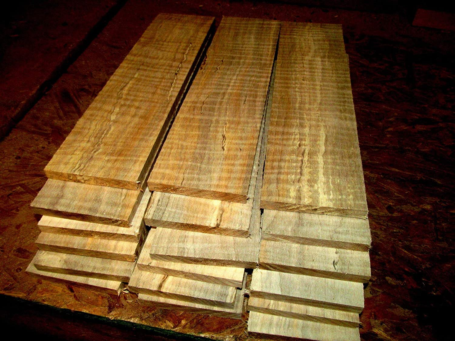 """Set of 16 12/"""" X 3/"""" X 1//4 Curly Maple Kiln Dried Sanded Exotic Wood Lumber Boards"""