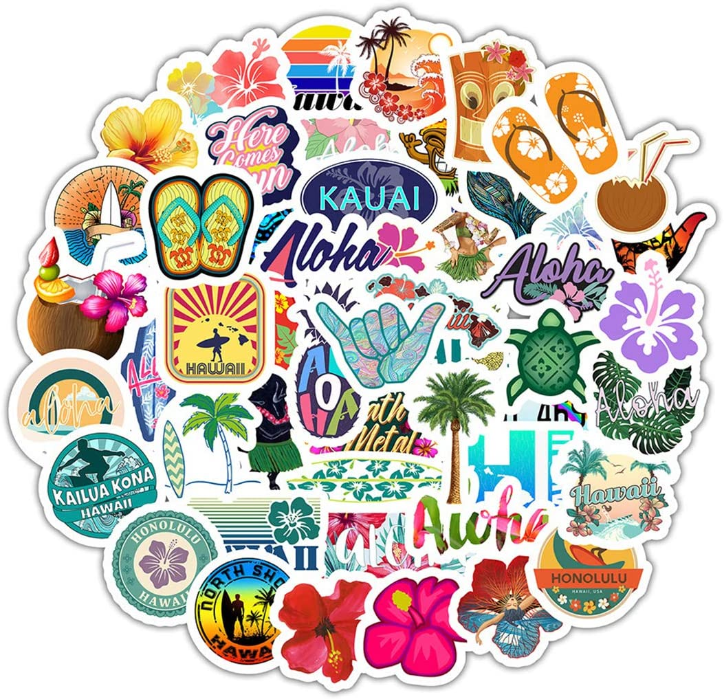 50Pcs Hawaii Tropical Vacation Stickers for Water Bottle Cup Laptop Guitar Car Motorcycle Bike Skateboard Luggage Box Vinyl Waterproof Graffiti Patches WJ