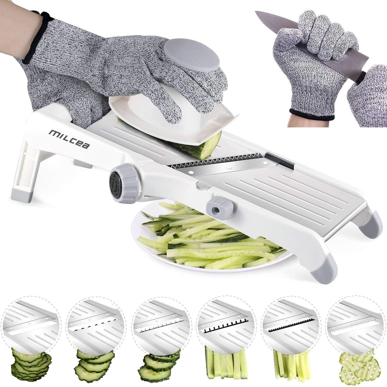 MILcea Mandoline de cuisine acier inoxydable multifonction professionnelle réglable 4 modes trancheuse pour légumes fruits à partir de fin à 9mm ,gants de sécurité inclus Blanc