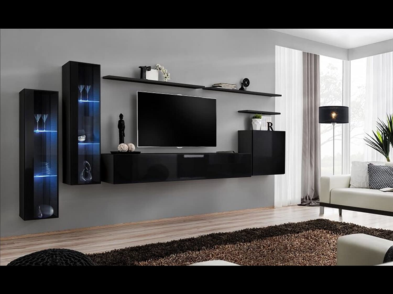 Shift XI   Seattle Collection High Gloss Living Room Furniture   Floating TV  Cabinet   European Design Wall Mounted Cabinets With LED Lighting (Black ...