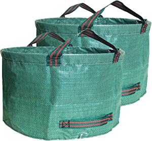 Abision 2 Pieces Polyester Leaf Bag 63 Gallons Waterproof Yard Waste Bags Gardening Garbage Recycling Processing Bag Lawn Bags and Patio Standable Bag